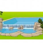 Proyecto piscina desbordante con rocas