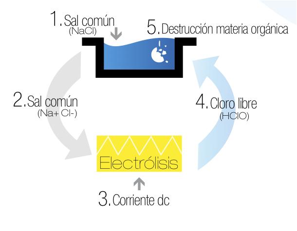funcionamiento electrólisis salina